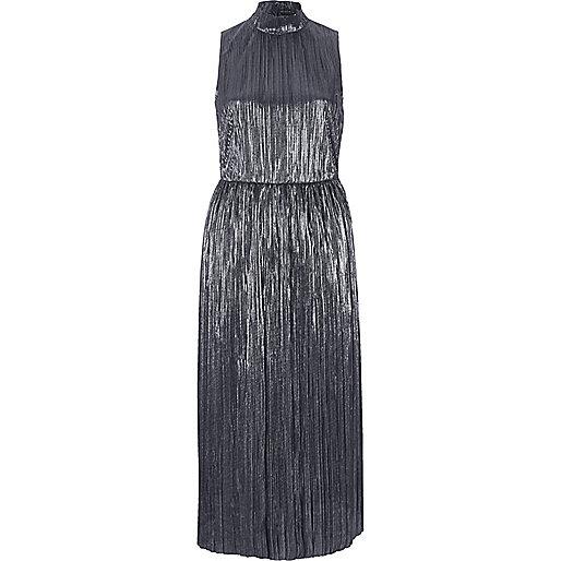 Silver turtleneck plisse midi dress