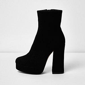 Black suede platform boots