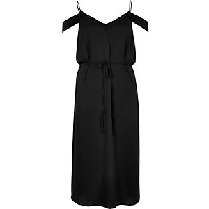 Black cold shoulder cami slip dress