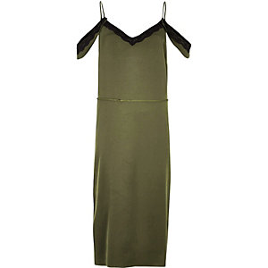 Khaki cold shoulder cami slip dress