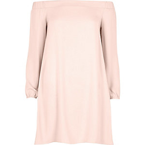 Light pink bardot swing dress