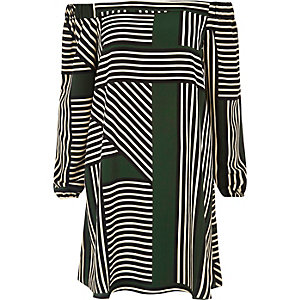 Green stripe bardot swing dress