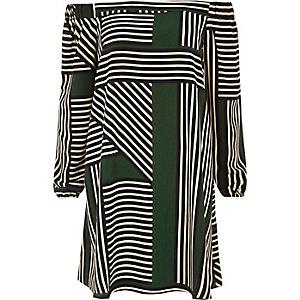 Green stripe bardot swing dress