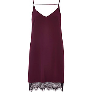 Dark purple lace hem slip dress