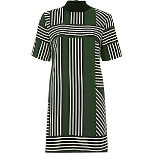 Green geometric stripe T-shirt dress