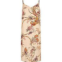 Cream print midi slip dress
