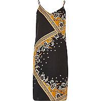 Black and gold print slip dress