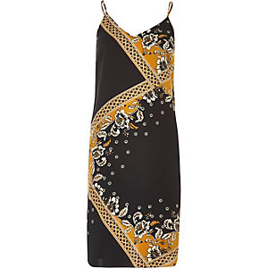Black and gold print slip dress