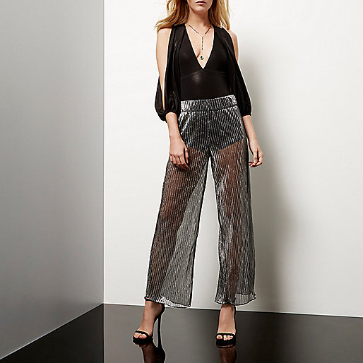 Silver sheer pleated palazzo trousers
