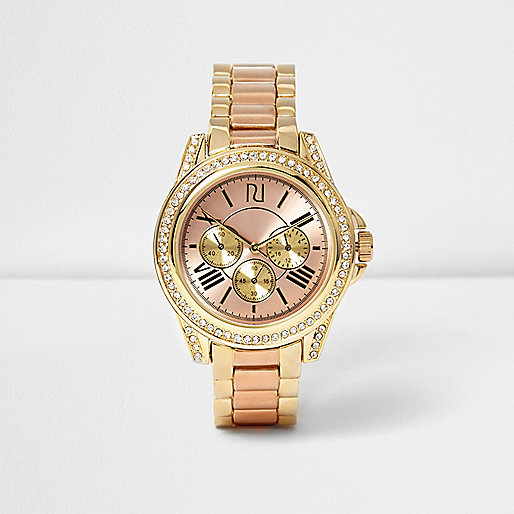 Gold and rose gold tone chain watch