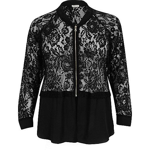 Plus black lace woven hem bomber jacket