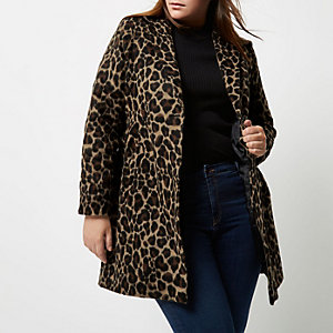 RI Plus leopard print wool overcoat