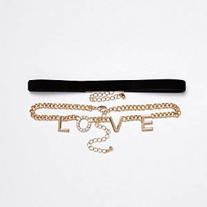 Black velvet and chain 'LOVE' chokers