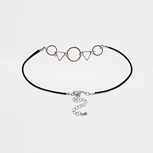 Black geometric shapes choker