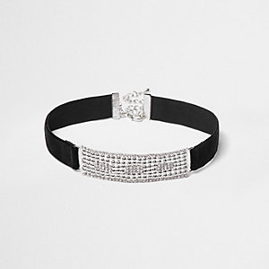 Black velvet crystal panel choker