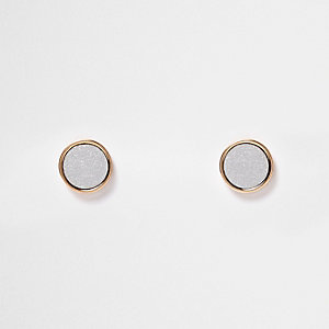 Gold tone silver stud earrings