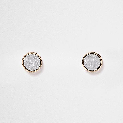 Gold tone silver stud earrings