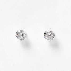 White crystal stud earrings