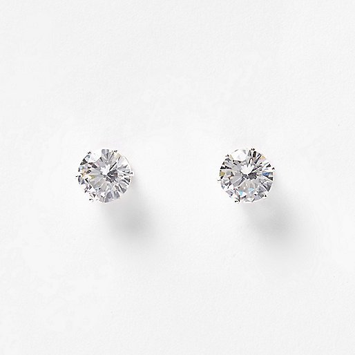 White crystal stud earrings