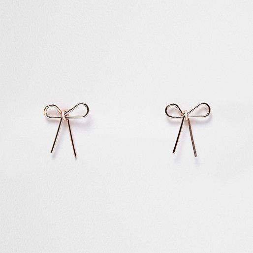 Boucles d'oreilles doré rose motif nœud