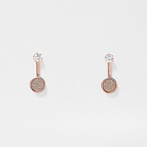 Rose gold tone glitter drop earrings