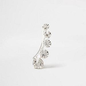 Silver gem encrusted climber earring