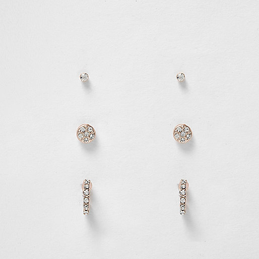 Rose gold multi design stud earrings pack