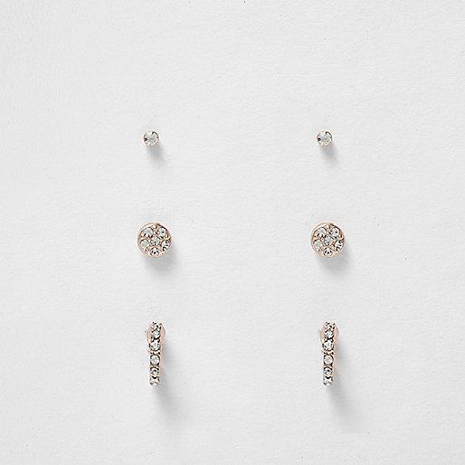 Rose gold multi design stud earrings pack
