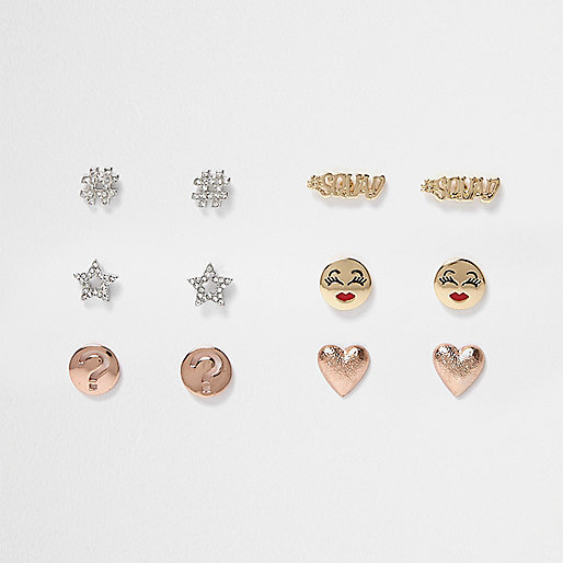 Mixed emoji stud earrings pack