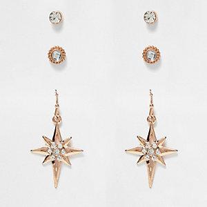 Rose gold tone stud and hoop earrings pack