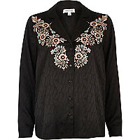 Black jacquard shirt with floral embroidery