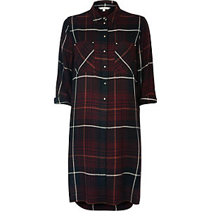 Red check longline shirt