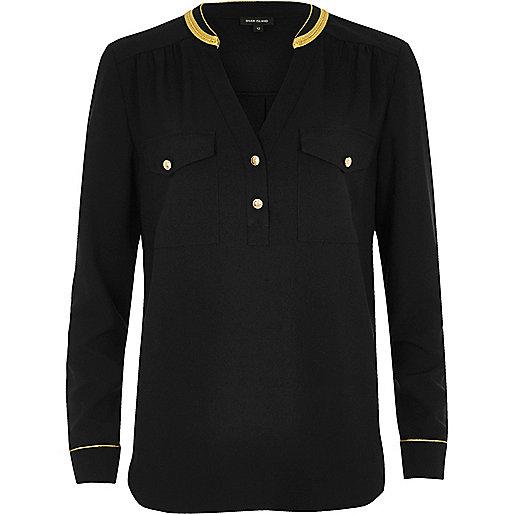 Chemise noire style militaire avec bordure dorée