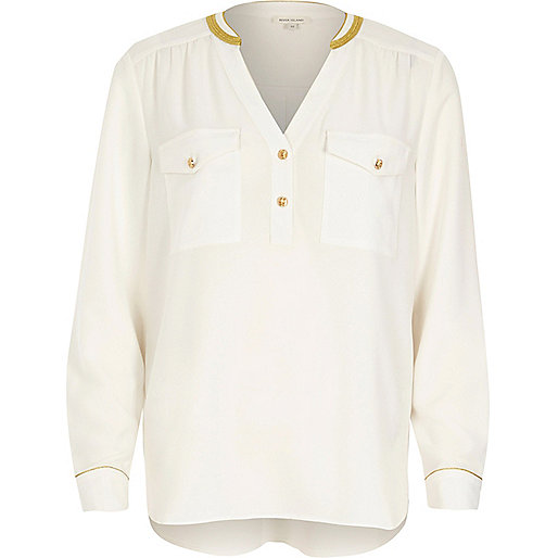 Camouflage-Hemd in Creme mit Goldsaum