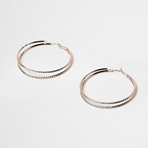 Rose gold tone double row hoop earrings