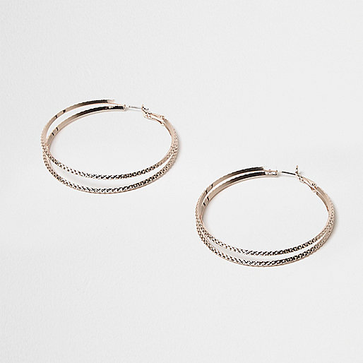 Rose gold tone double row hoop earrings
