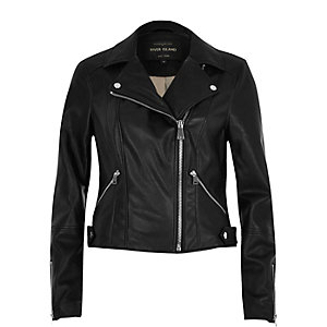 Black polished leather look biker jacket