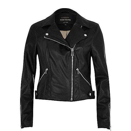 Black polished leather look biker jacket