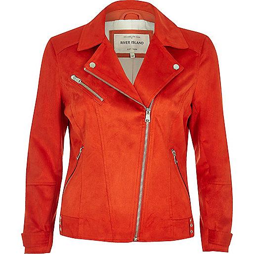 Bright orange faux suede biker jacket