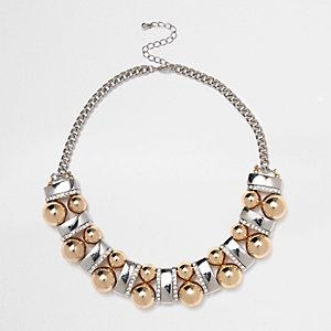 Silver tone ball bar necklace