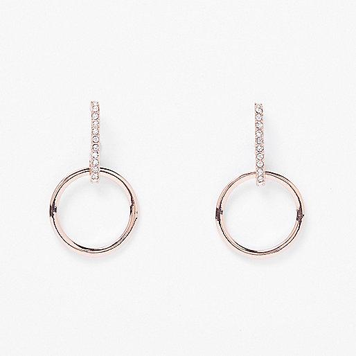 Rose gold tone encrusted drop dangly earrings