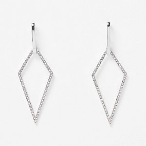 Silver tone encrusted drop diamond earrings