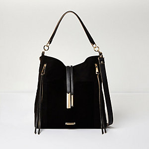 Black zip front slouch handbag