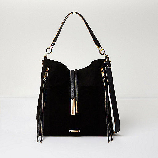 Black zip front slouch bag