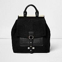 Black buckle front panel backpack