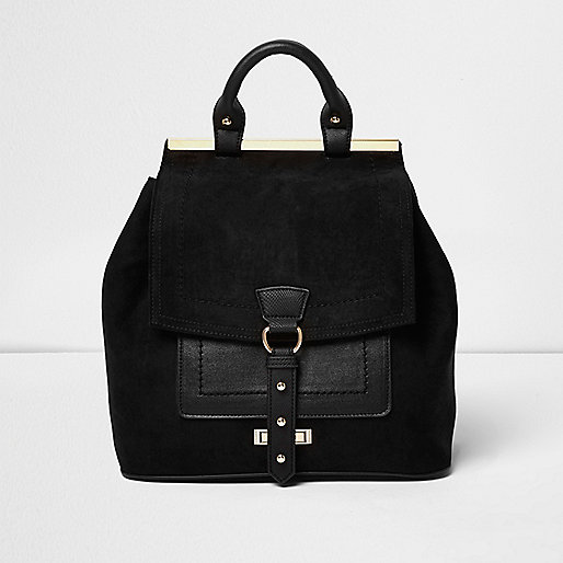 Black buckle front panel backpack