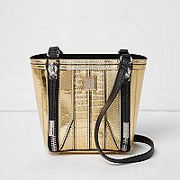 Gold scale effect mini bucket bag