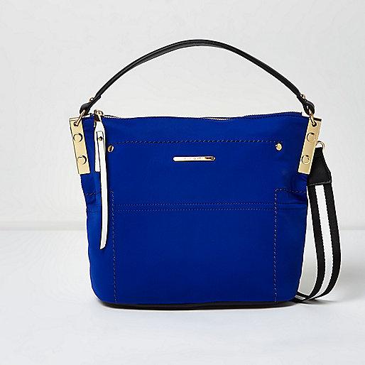 Blue sports strap mini bucket bag