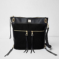 Black zip panel messenger bag