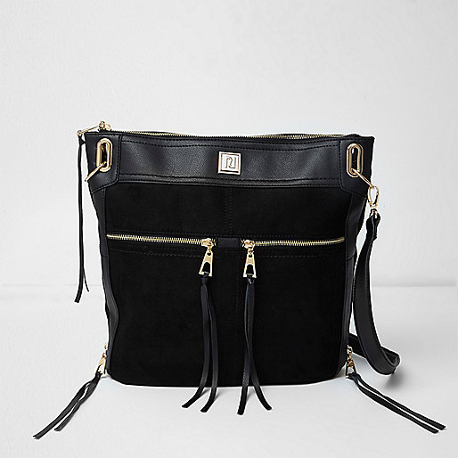 Black zip panel messenger bag